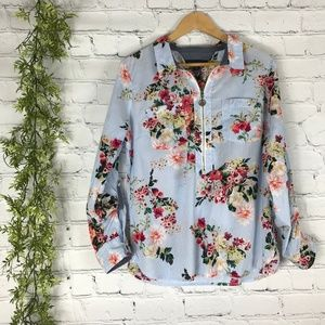 Tommy Hilfiger Striped Floral Zip Up Blouse L